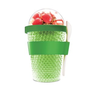 Zelený termokelímek na jogurt Asobu Chill Yo 2 Go, 380 ml
