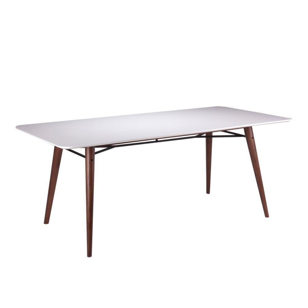 Bílý jídelní stůl s nohami z tmavého dřeva kaučukovníku sømcasa Irina, 180x90cm