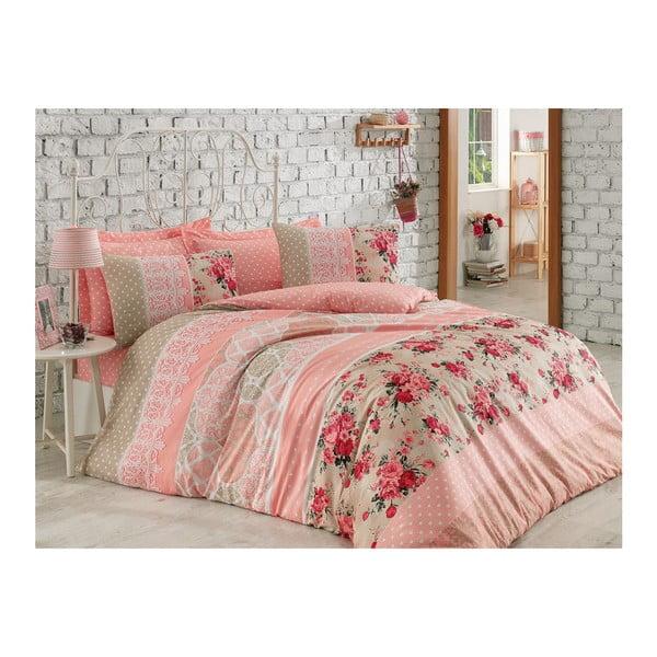 Lenjerie de pat cu cearșaf din bumbac Emma, 200 x 220 cm