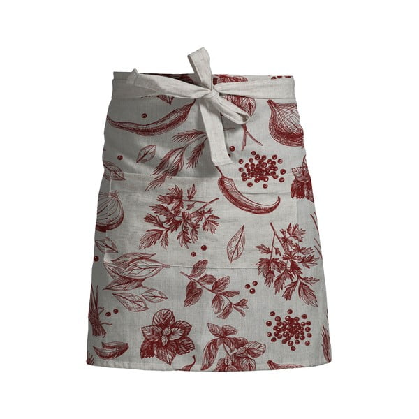 Kvetovaná zástera s prímesou ľanu Linen Couture Delantal Red Peppers