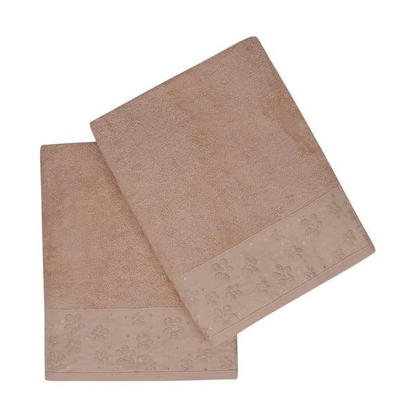 Sada 2 hnědých ručníků z čisté bavlny Coco, 90 x 150 cm
