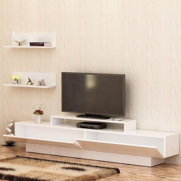 Set bílého TV stolku a 2 nástěnných polic Lucca TV White