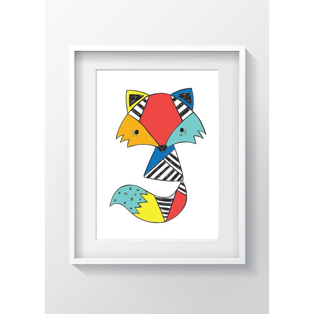 Nástěnný obraz OYO Kids Colorful Fox, 24 x 29 cm