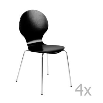 Set 4 scaune Actona Marcus Dining Chair, negru