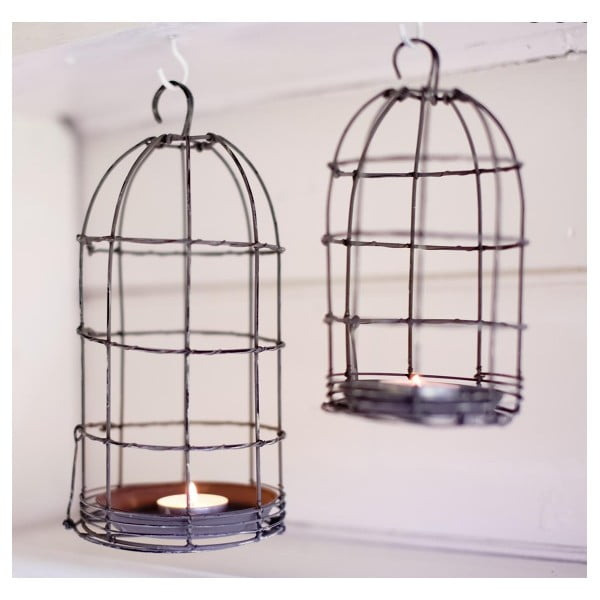 Lucerna Bird Cage Light 26 cm, šedá