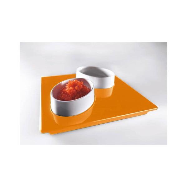 Oranžový servírovací set Entity, 15x15 cm