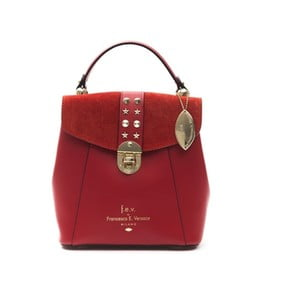 Červený kožený dámský batoh f.e.v. by Francesca E. Versace Rismo