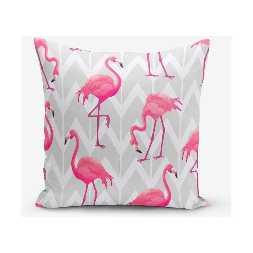 Povlak na polštář s příměsí bavlny s motivem plameňáků Minimalist Cushion Covers, 45 x 45 cm
