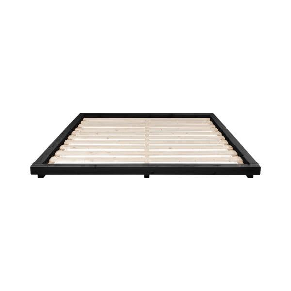 Czarne łóżko z drewna sosnowego Karup Design Dock, 160x200 cm
