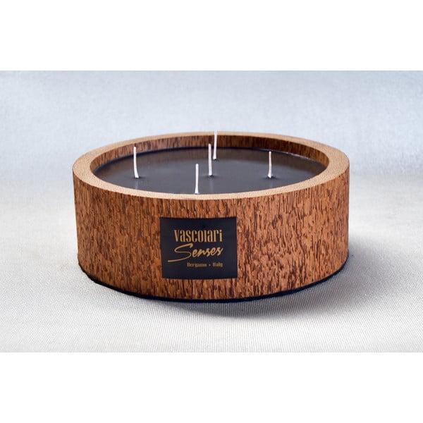 Palmová svíčka Legno Round s vůní vodního květu, 80 hodin hoření