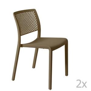 Sada 2 hnědých zahradních židlí Resol Trama