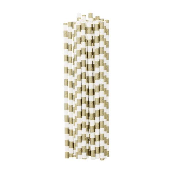 Balení 25 papírových brček Gold Stripes