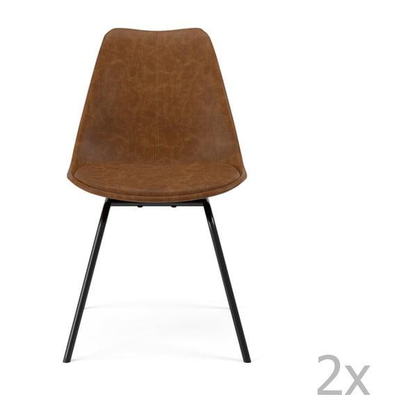Sada 2 hnedých jedálenských stoličiek Tenzo Gina Triangle