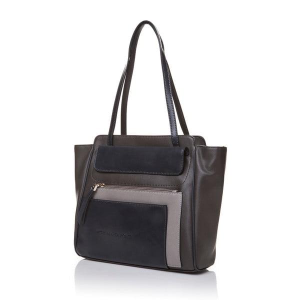 Kožená kabelka přes rameno Marta Ponti Zippy, béžová/šedá