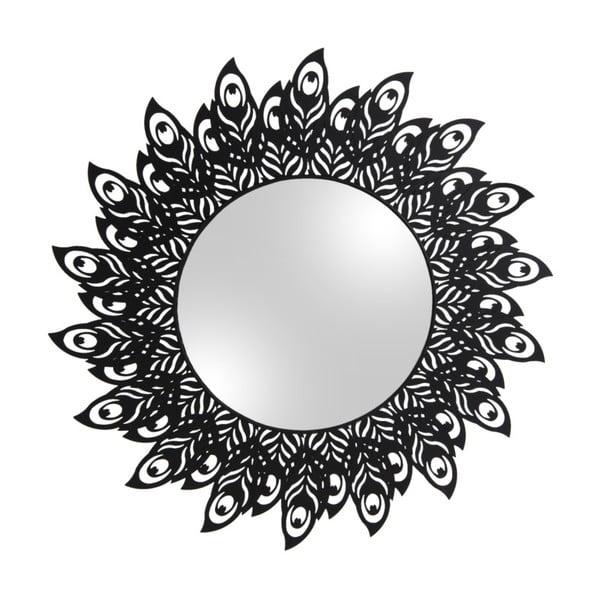Nástěnné zrcadlo s rámem v černé barvě PT LIVING Peacock Feathers, 60 x 30 cm