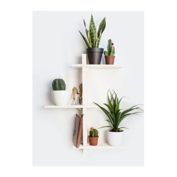 Raft de perete din lemn de brad pentru ghivece Really Nice Things Blanco