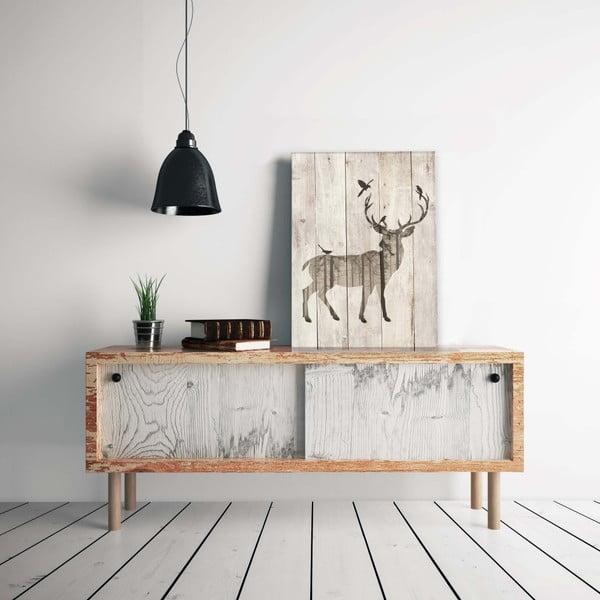 Dřevěná nástěnná dekorativní cedule z borovicového dřeva Really Nice Things Watercolor Deer, 40 x 60 cm