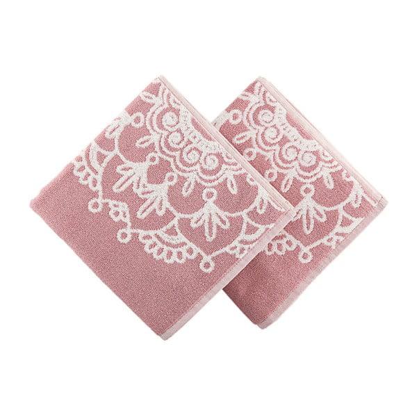 Sada 2 bílo-růžových osušek Crazy Vibes Pink, 50x100cm