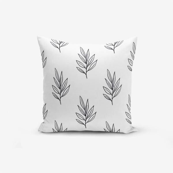 Povlak na polštář s příměsí bavlny Minimalist Cushion Covers White Leaf, 45 x 45 cm