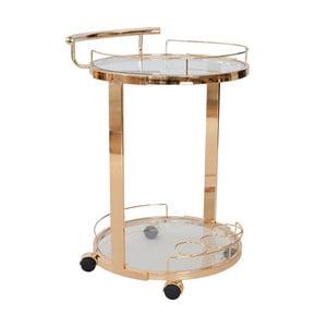 Měděný kulatý skleněný servírovací stolek RGE Louise