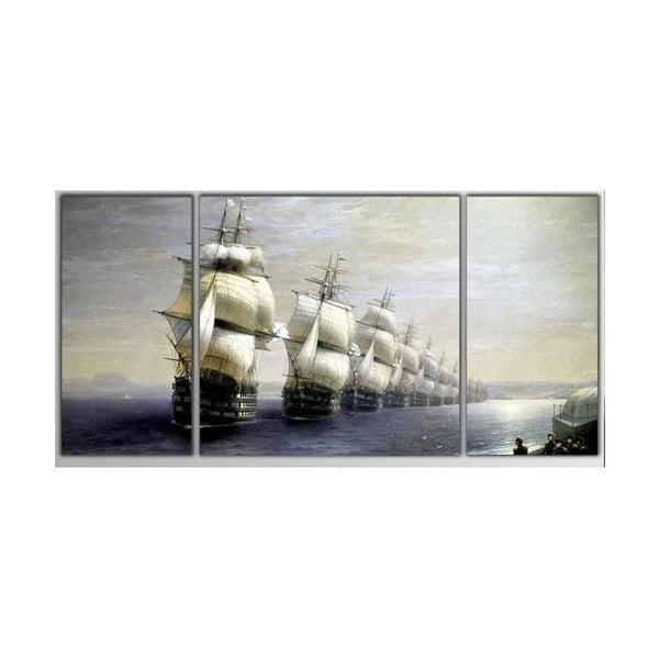 3dílný obraz Asymetric Boats, 80x40 cm