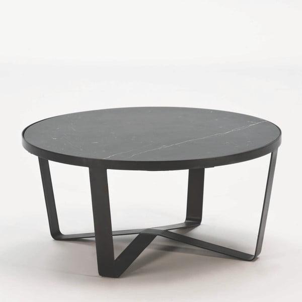 Černý konferenční stoleks mramorovou deskou Thai Natura, ⌀85cm