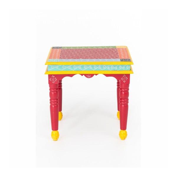 Masă auxiliară din lemn de salcâm WOOX LIVING India Colore, 53 x 53 cm