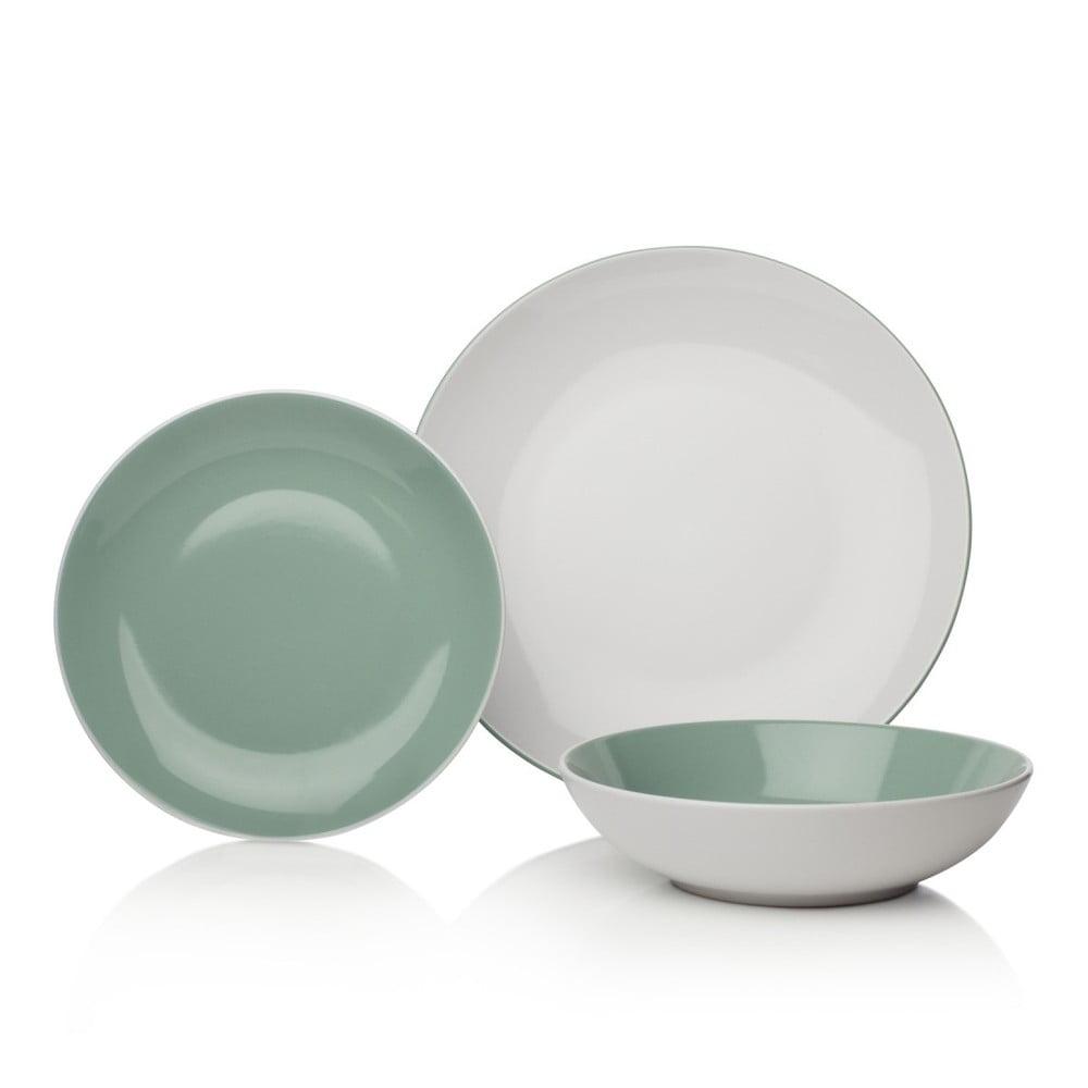 12dílná zelenobílá sada nádobí z porcelánu Sabichi Tone