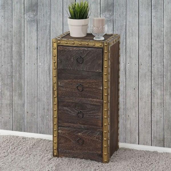 Hnědá dřevěná skříňka Mendler Shabby Ambato