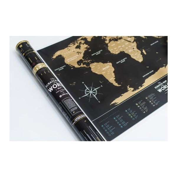 Stírací mapa světa Travel Map of the World Black, 80x60 cm