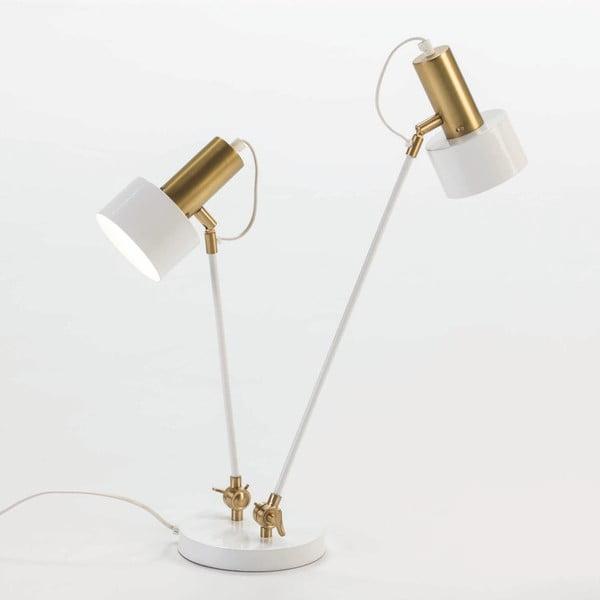 Biała lampa stołowa z konstrukcją w kolorze złota se 2 stínidly Thai Natura
