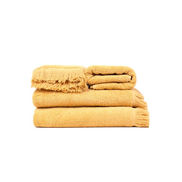 Sada 2 žlutých bavlněných osušek a 2 ručníků Casa Di Bassi Sun