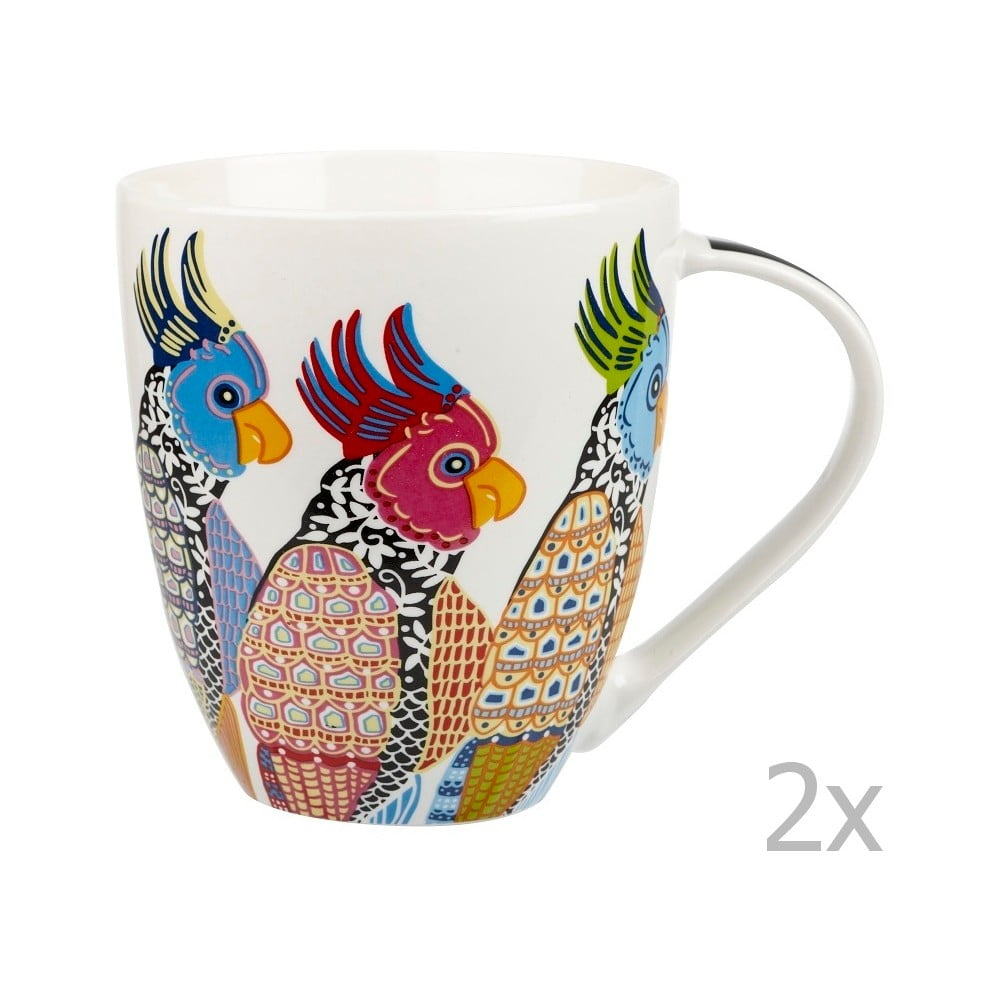 Sada 2 hrnků z porcelánu Churchill China Parakeets 500 ml
