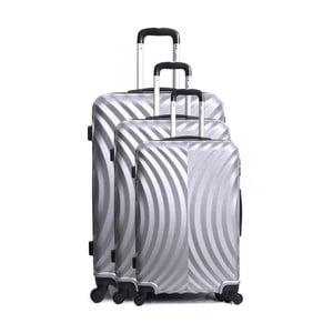 Sada 3 cestovních kufrů ve stříbrné barvě na kolečkách Hero Lagos