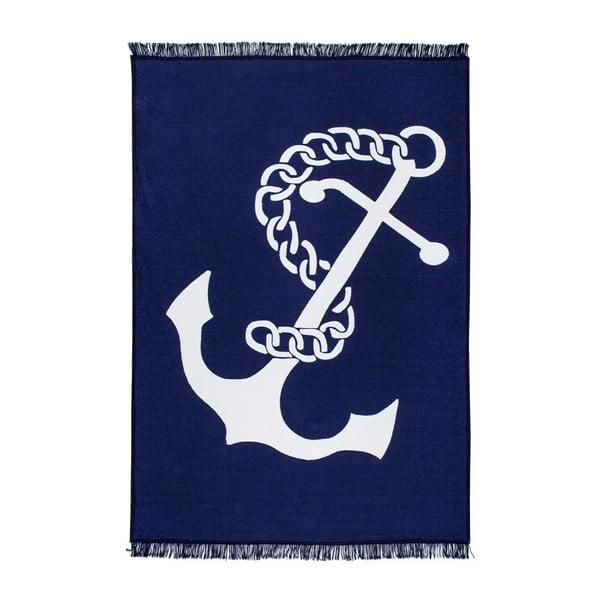 Covor reversibil Anchor, 80 x 150 cm, alb-albastru