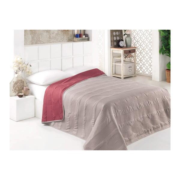 Šedo-hnědý oboustranný přehoz přes postel z mikrovlákna, 160 x 220 cm