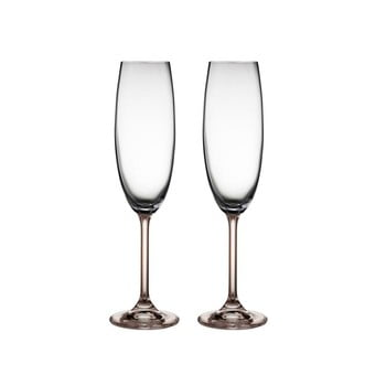 Set 2 pahare de șampanie din cristal Bitz Fluidum, 220 ml, gri de la Bitz