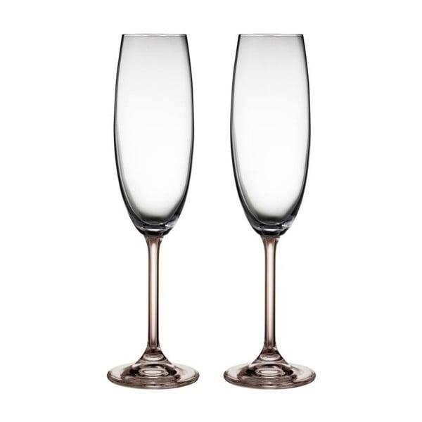 Fluidum 2 db szürke kristályüveg pezsgőspohár, 220 ml - Bitz