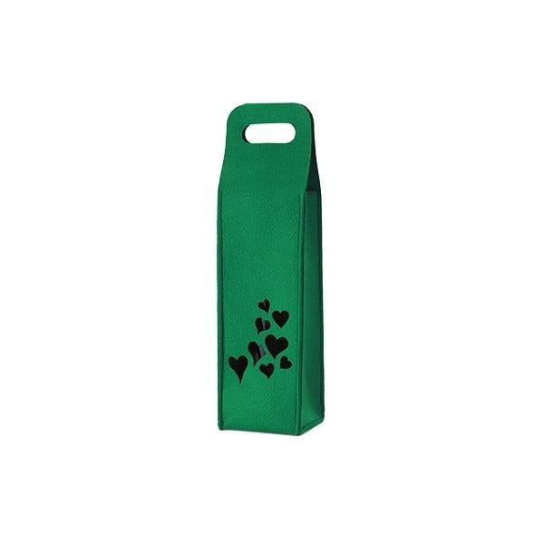 Plstěný obal na víno se srdíčky, zelený