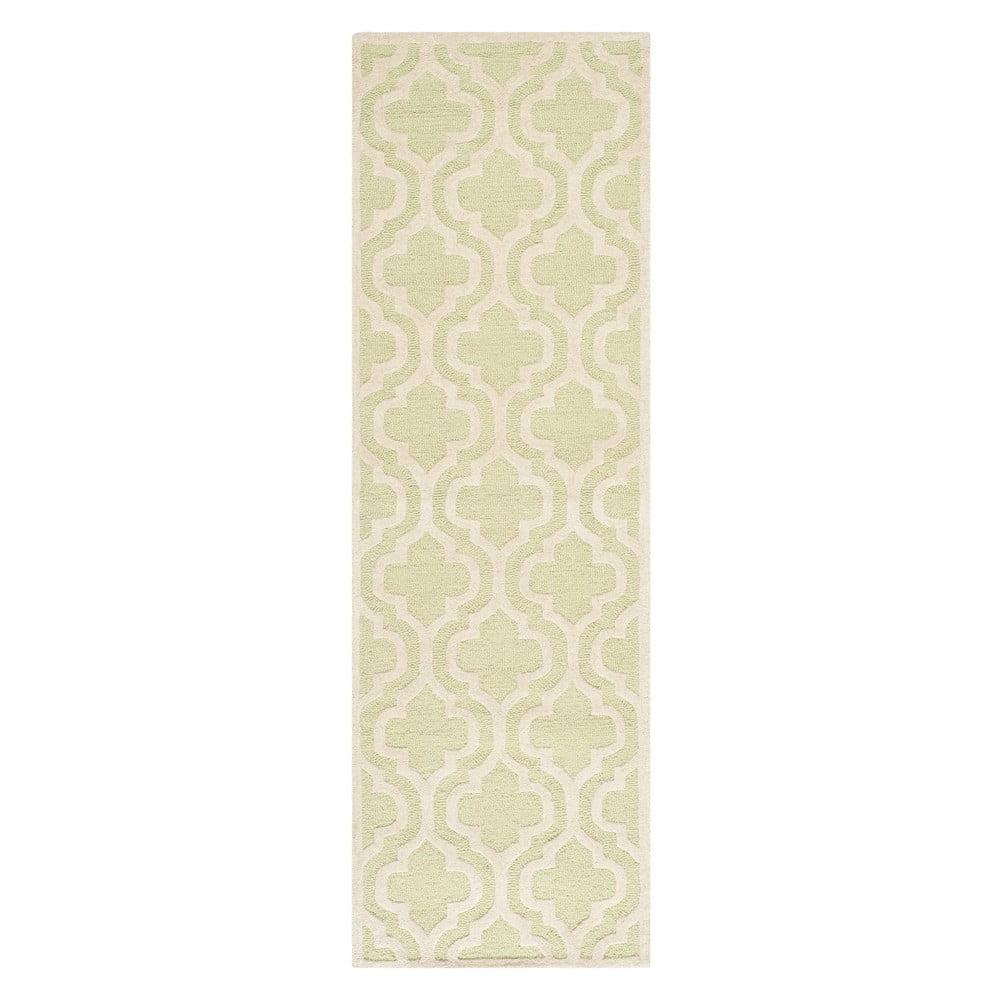 Vlněný koberec Lola 76x243 cm, zeleno-bílý