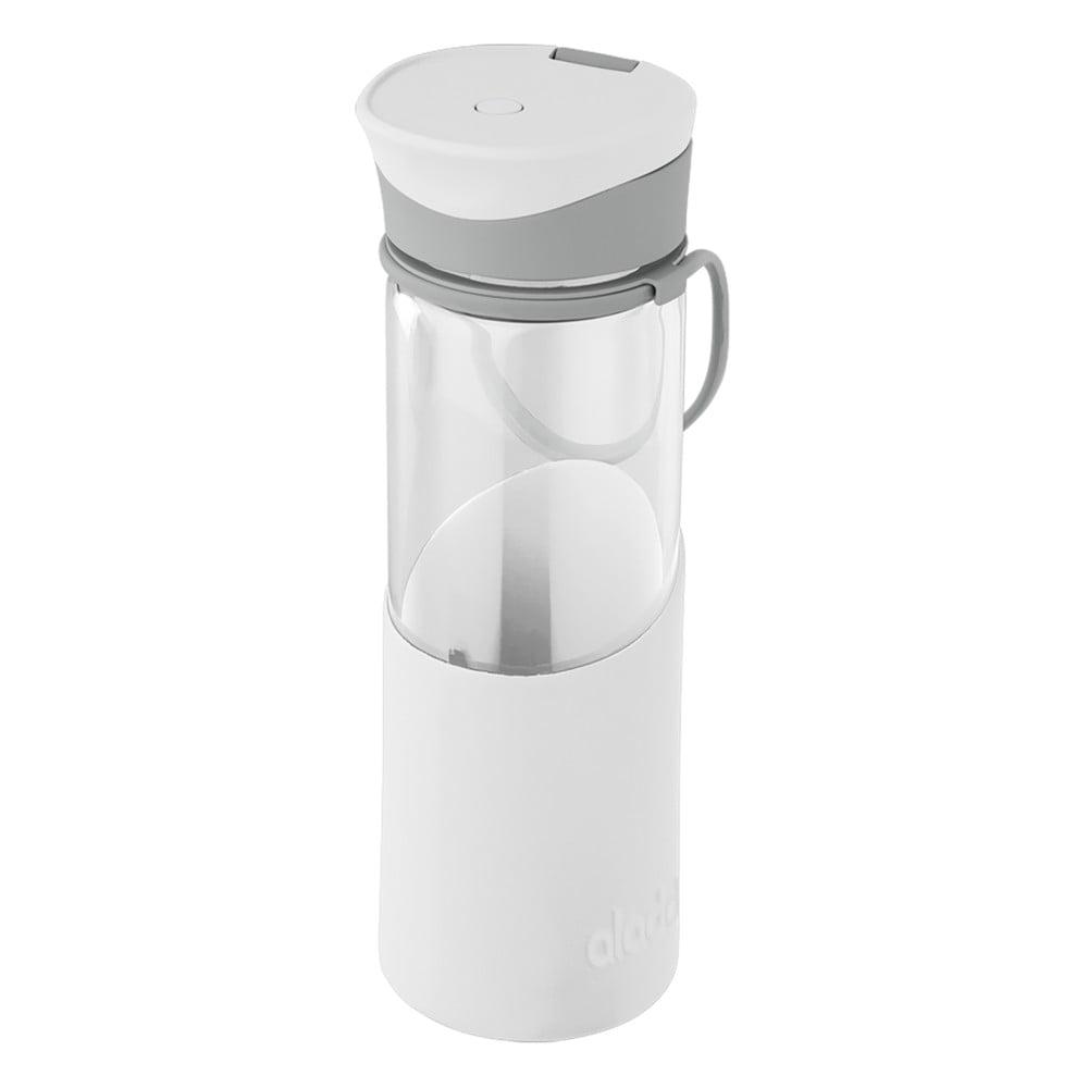 Bílá láhev na vodu se silikonovým pouzdrem Aladdin, 500 ml
