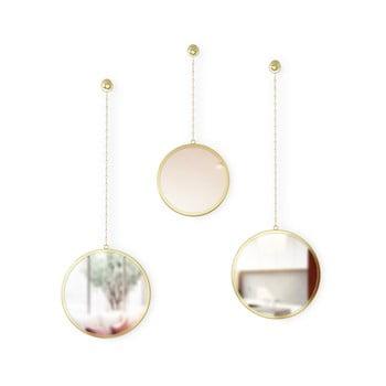 Set 3 oglinzi suspendate Umbra Rondo, auriu