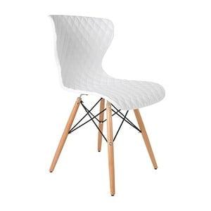 Bílá židle s bukovým podnožím Crow