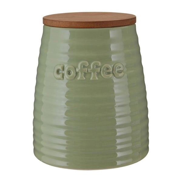 Zielony pojemnik na kawę z bambusowym wieczkiem Premier Housewares Winnie, 950 ml