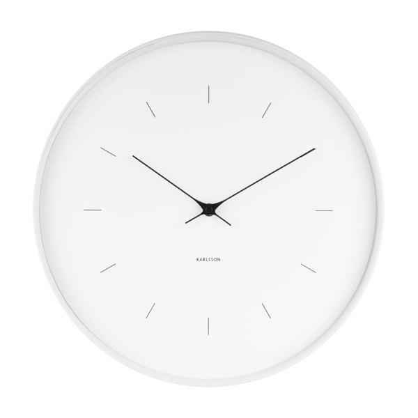 Biały zegar ścienny Karlsson Butterfly, Ø 37,5 cm