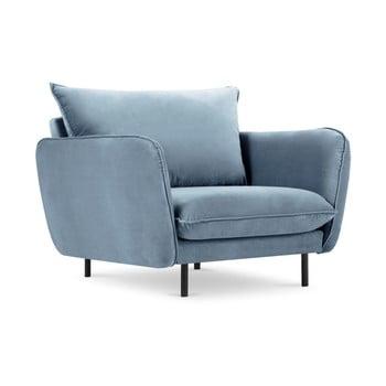 Fotoliu cu tapițerie de catifea Cosmopolitan Design Vienna, albastru deschis imagine