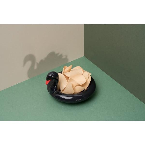Bol plutitor din ceramică DOIY Black Swan, 18 x 16 cm, negru