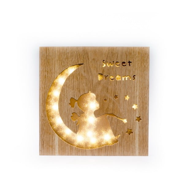Závesná drevená svietiaca dekorácia Dakls Sweet Dreams