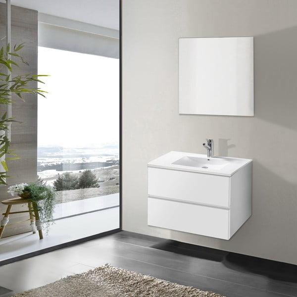 Koupelnová skříňka s umyvadlem a zrcadlem Flopy, odstín bílé, 70 cm