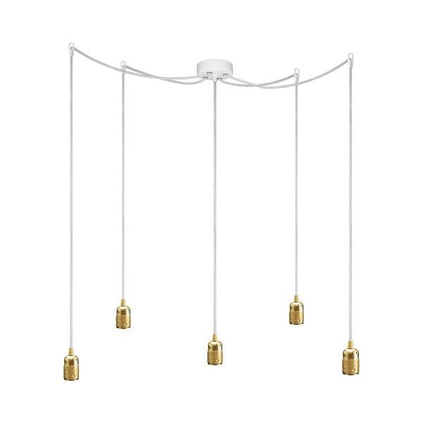 Závěsné svítidlo s 5 bílými kabely a zlatou objímkou Bulb Attack Uno